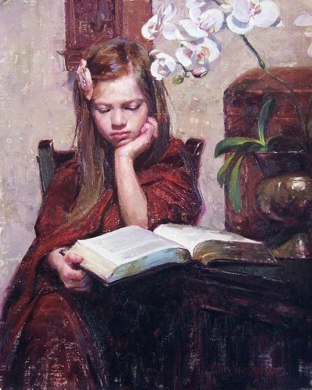 油画中的少女优雅恬静插图5