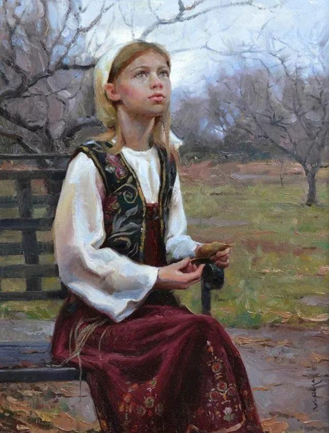 油画中的少女优雅恬静插图6