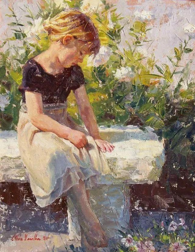 油画中的少女优雅恬静插图8