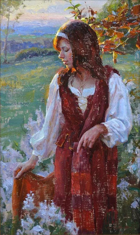 油画中的少女优雅恬静插图11