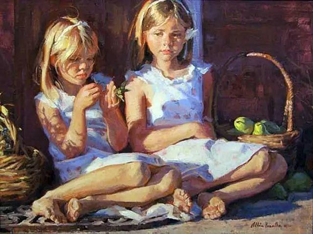 油画中的少女优雅恬静插图12