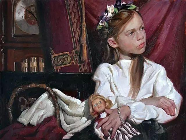 油画中的少女优雅恬静插图13