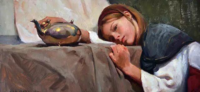 油画中的少女优雅恬静插图14