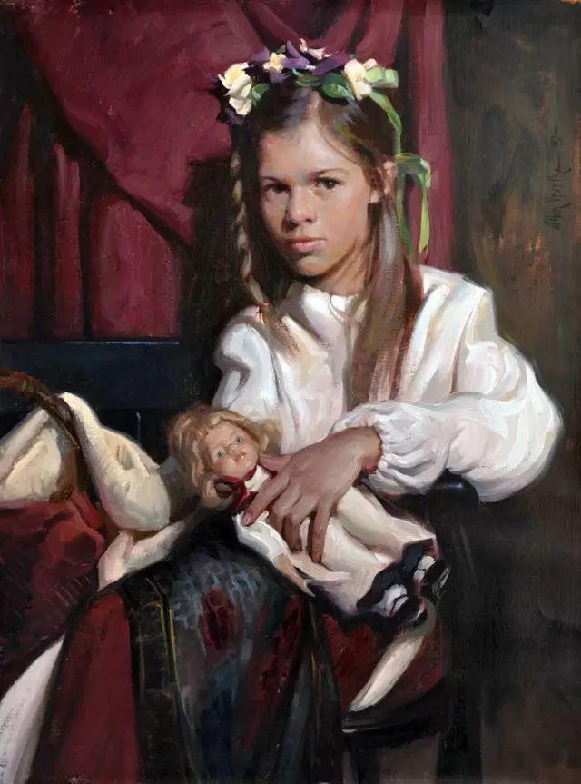 油画中的少女优雅恬静插图15