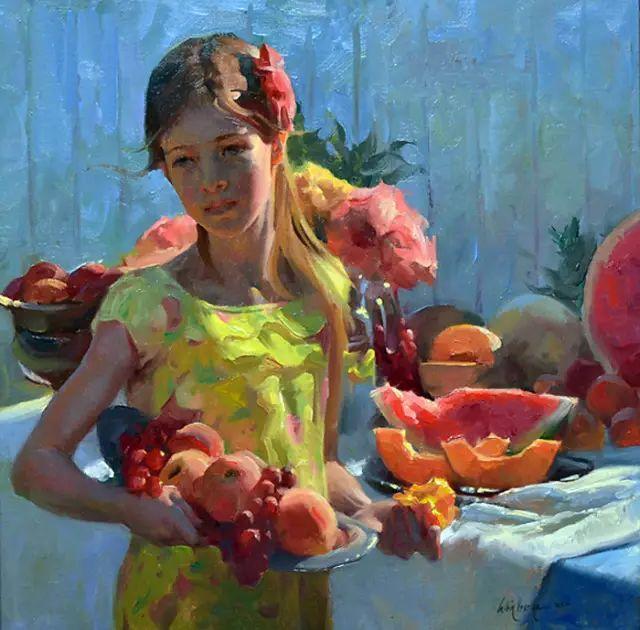油画中的少女优雅恬静插图17
