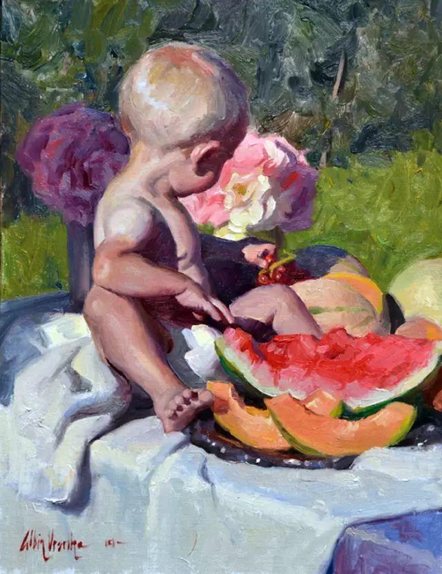 油画中的少女优雅恬静插图18