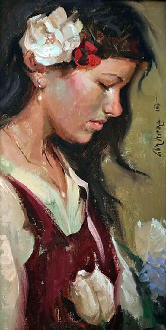 油画中的少女优雅恬静插图20