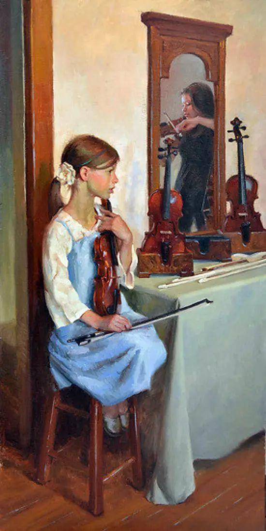 油画中的少女优雅恬静插图21