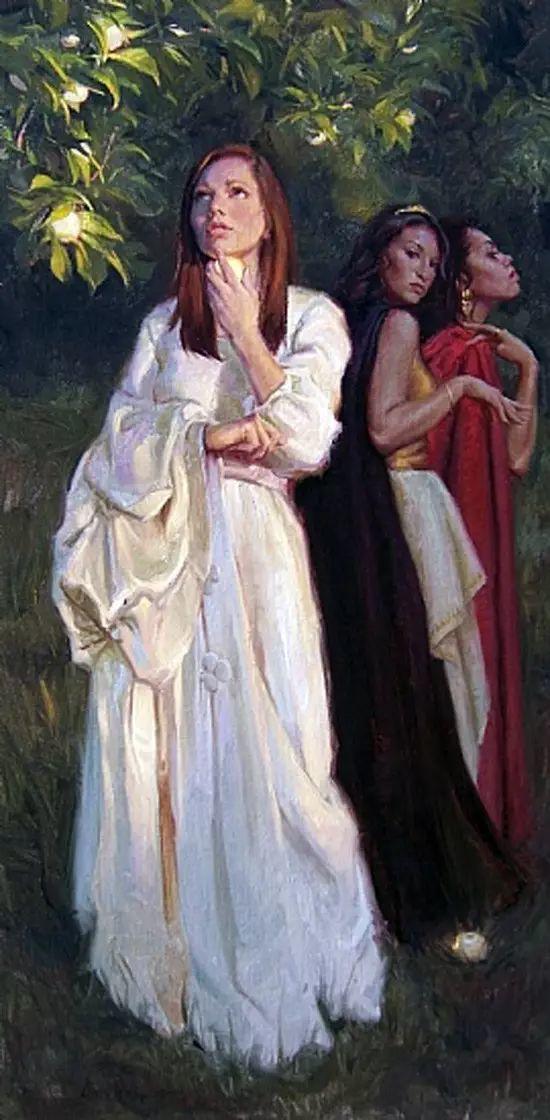 油画中的少女优雅恬静插图24
