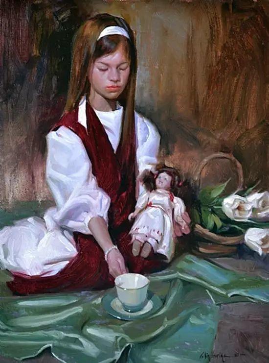 油画中的少女优雅恬静插图25