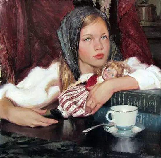 油画中的少女优雅恬静插图26