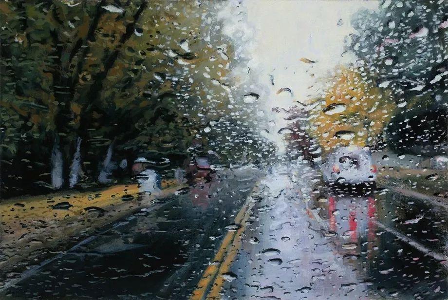 朦胧雨景,Karen Woods绘画作品插图1