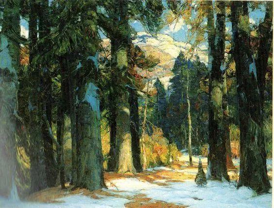 色调高雅的静谧山林,美国艺术家卡尔森作品插图1