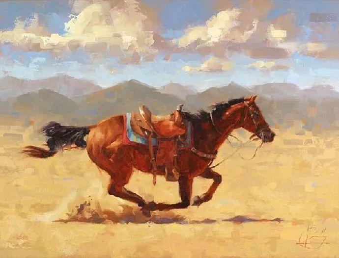 动感十足的牛马,大胆的印象派画风插图1
