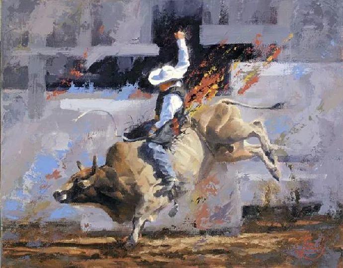 动感十足的牛马,大胆的印象派画风插图3