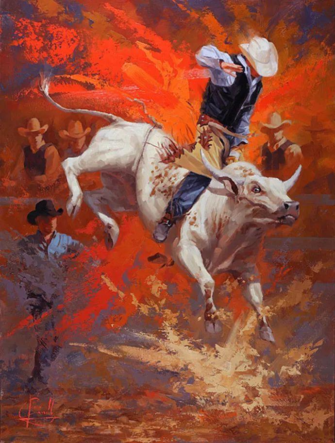 动感十足的牛马,大胆的印象派画风插图7