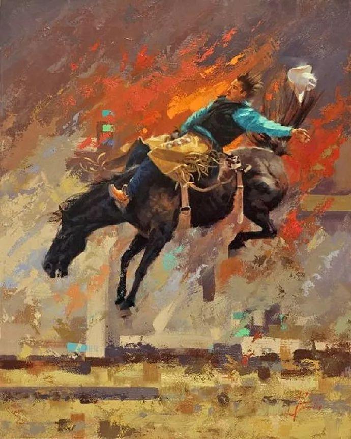 动感十足的牛马,大胆的印象派画风插图11