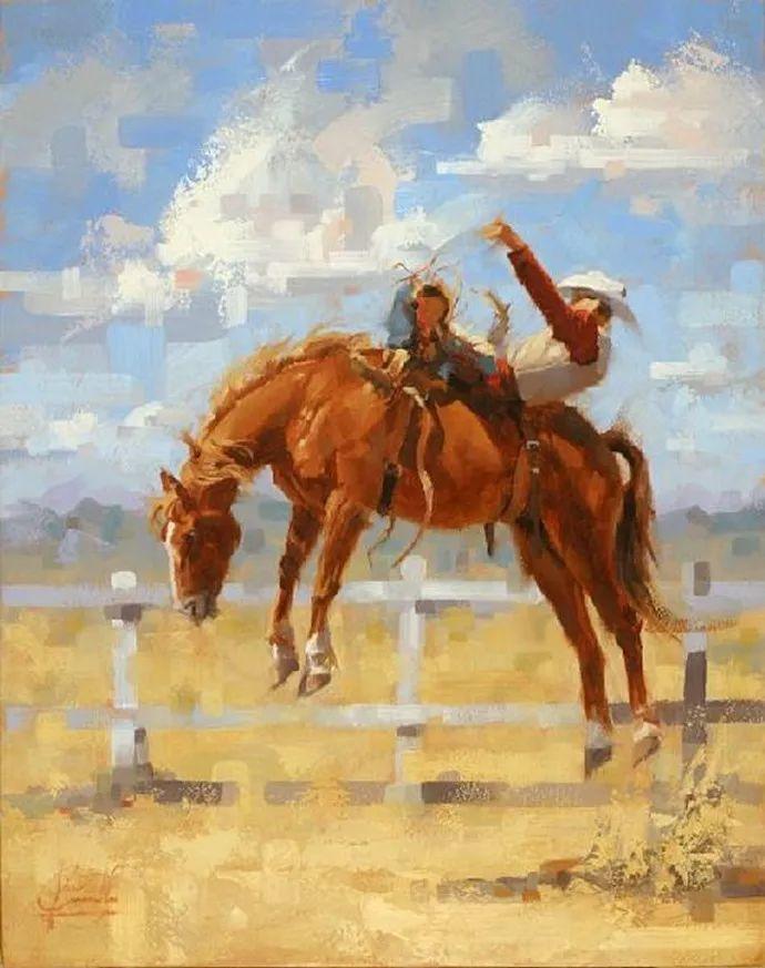 动感十足的牛马,大胆的印象派画风插图19