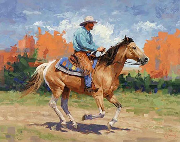 动感十足的牛马,大胆的印象派画风插图23