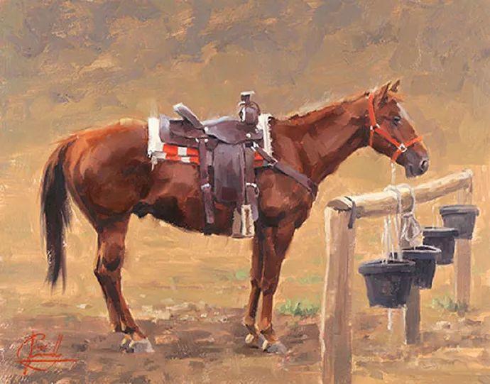 动感十足的牛马,大胆的印象派画风插图33