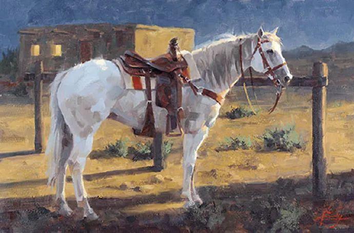 动感十足的牛马,大胆的印象派画风插图35