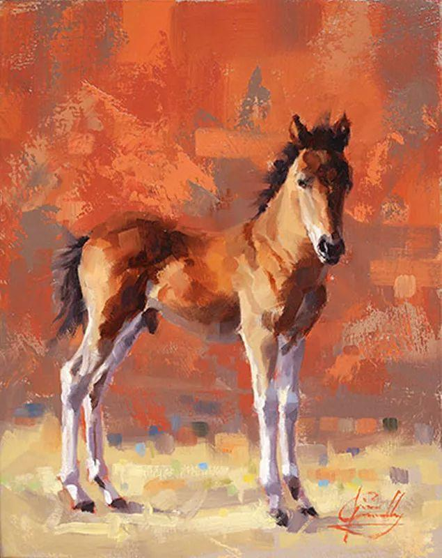 动感十足的牛马,大胆的印象派画风插图37
