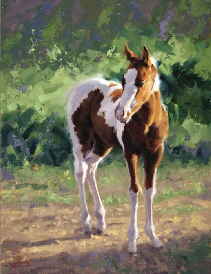 动感十足的牛马,大胆的印象派画风插图47