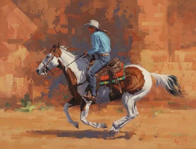 动感十足的牛马,大胆的印象派画风插图51