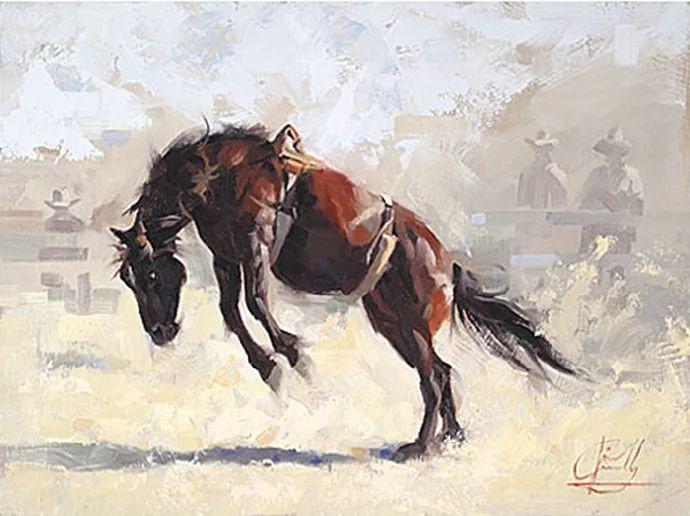 动感十足的牛马,大胆的印象派画风插图61