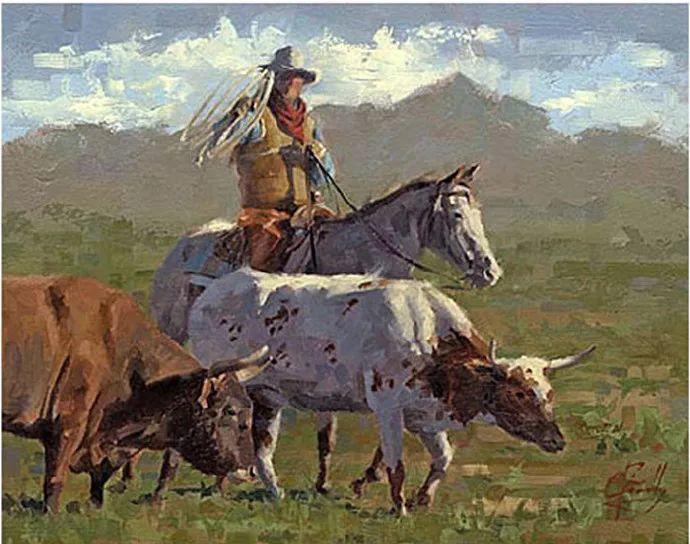 动感十足的牛马,大胆的印象派画风插图63