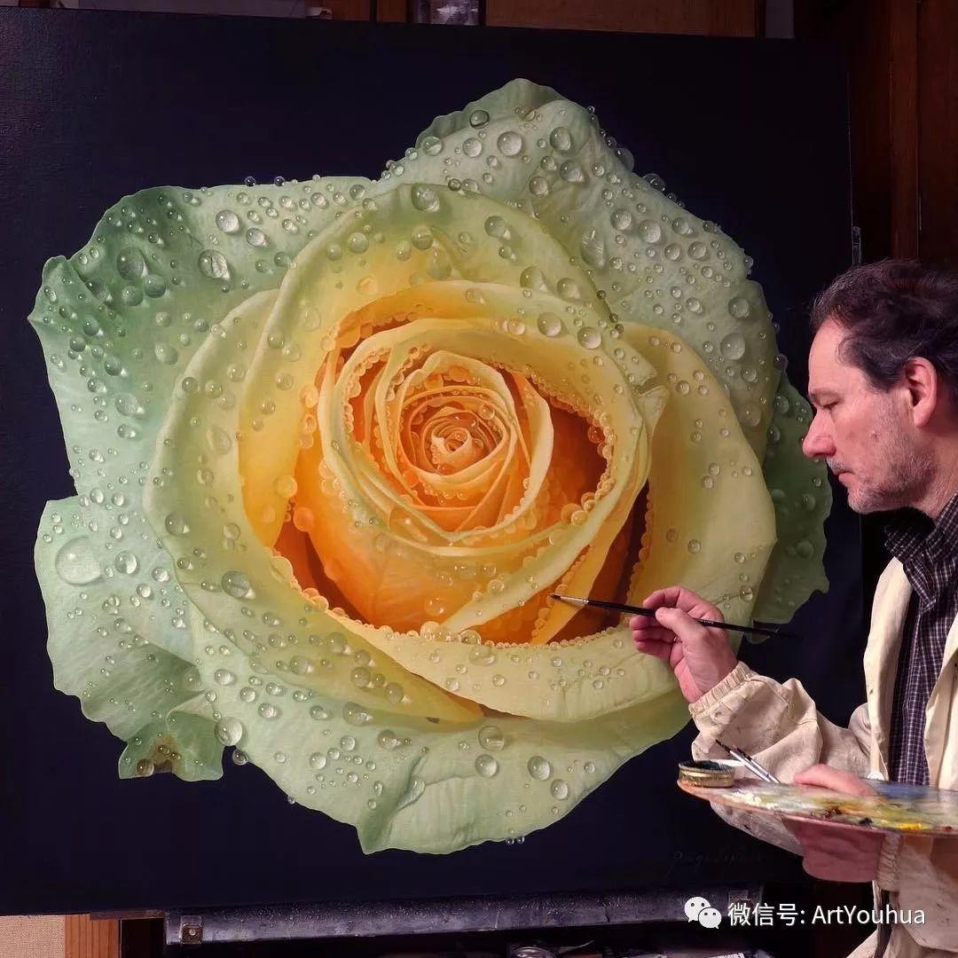 他用一块画布,就能将其变成一个露珠覆盖的玫瑰花园插图5