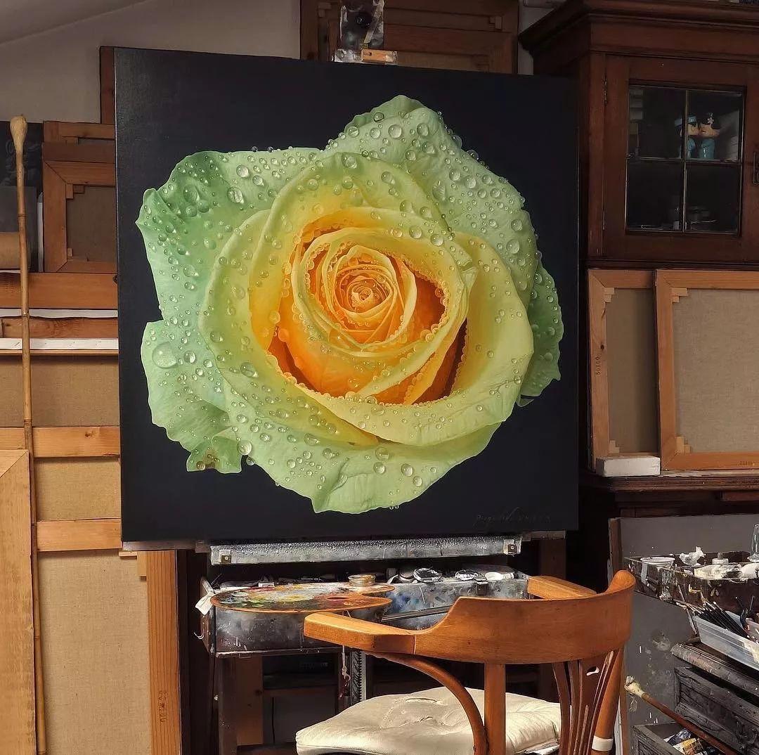 他用一块画布,就能将其变成一个露珠覆盖的玫瑰花园插图6