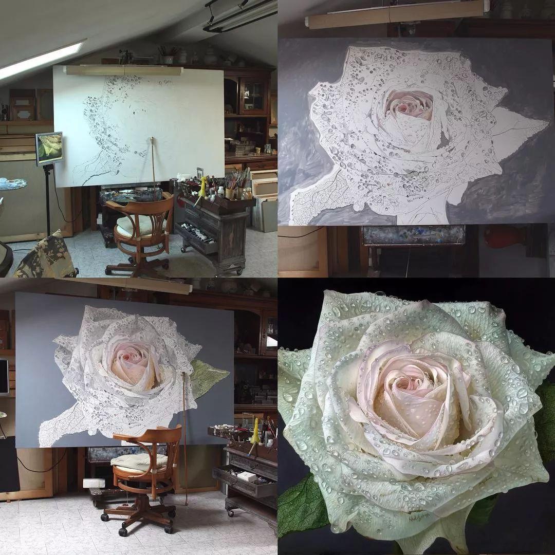 他用一块画布,就能将其变成一个露珠覆盖的玫瑰花园插图15