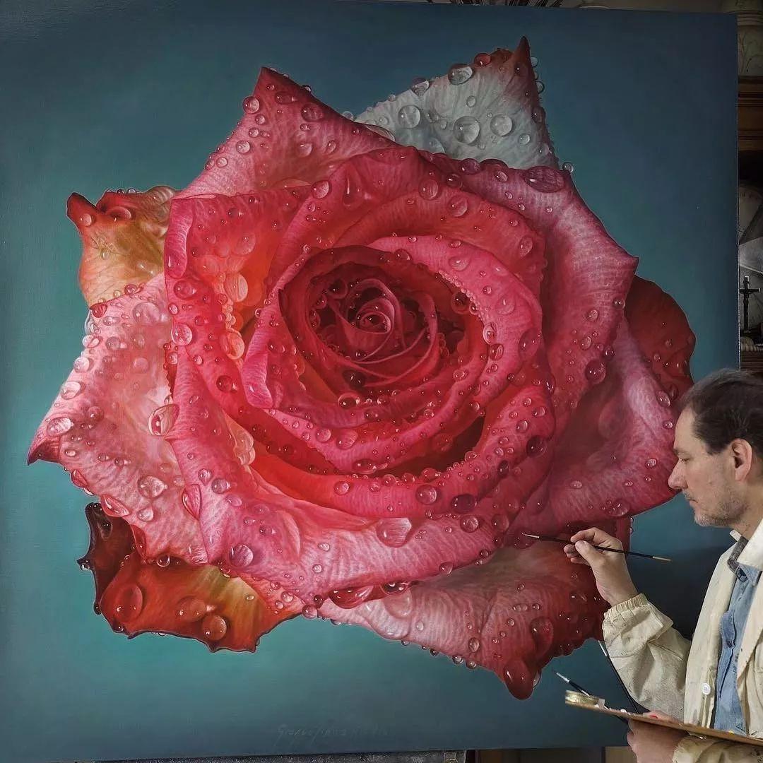 他用一块画布,就能将其变成一个露珠覆盖的玫瑰花园插图30