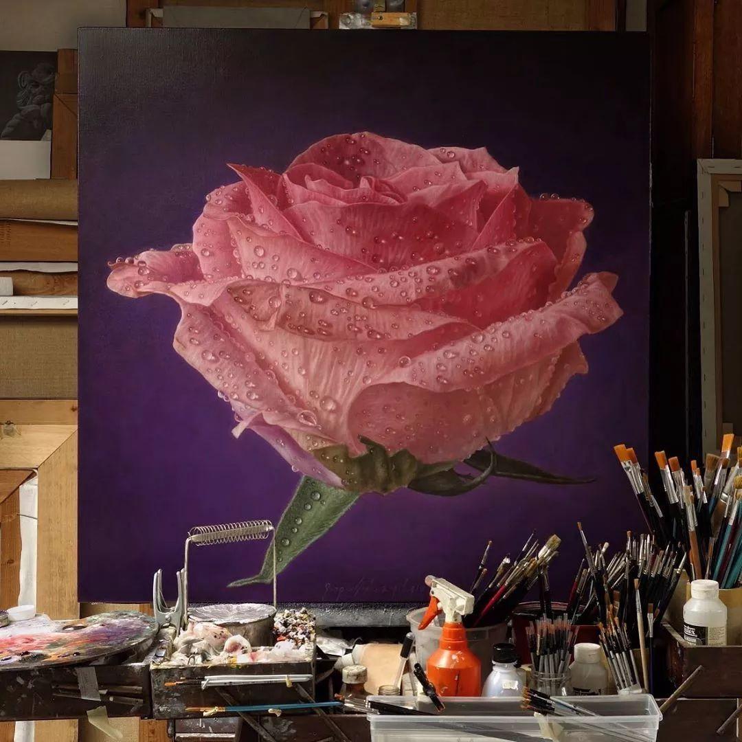 他用一块画布,就能将其变成一个露珠覆盖的玫瑰花园插图34