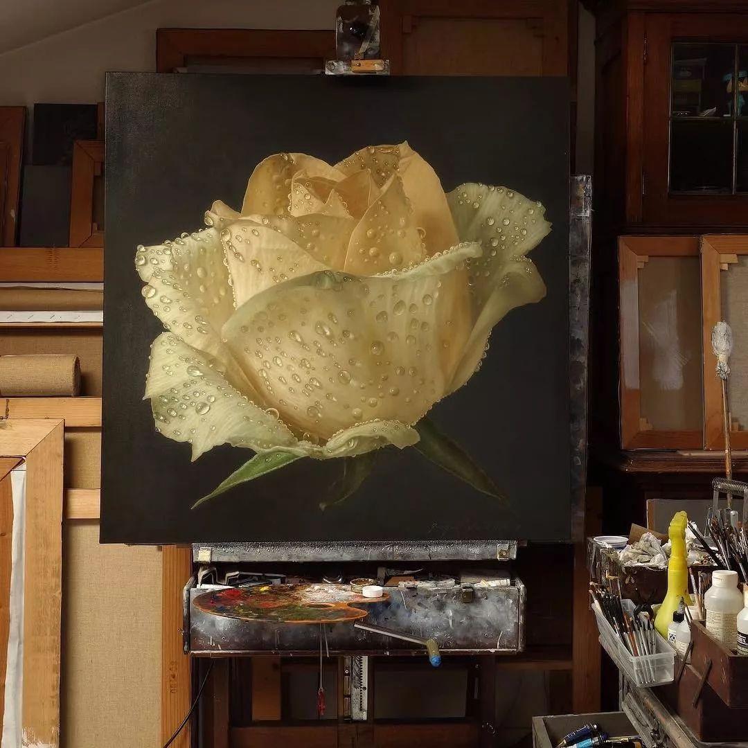 他用一块画布,就能将其变成一个露珠覆盖的玫瑰花园插图47