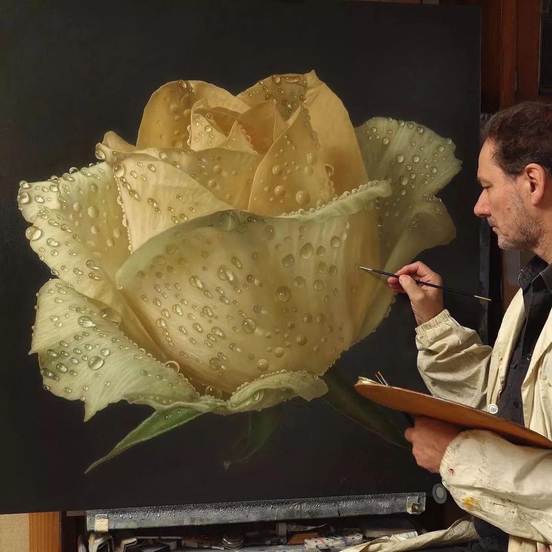 他用一块画布,就能将其变成一个露珠覆盖的玫瑰花园插图48