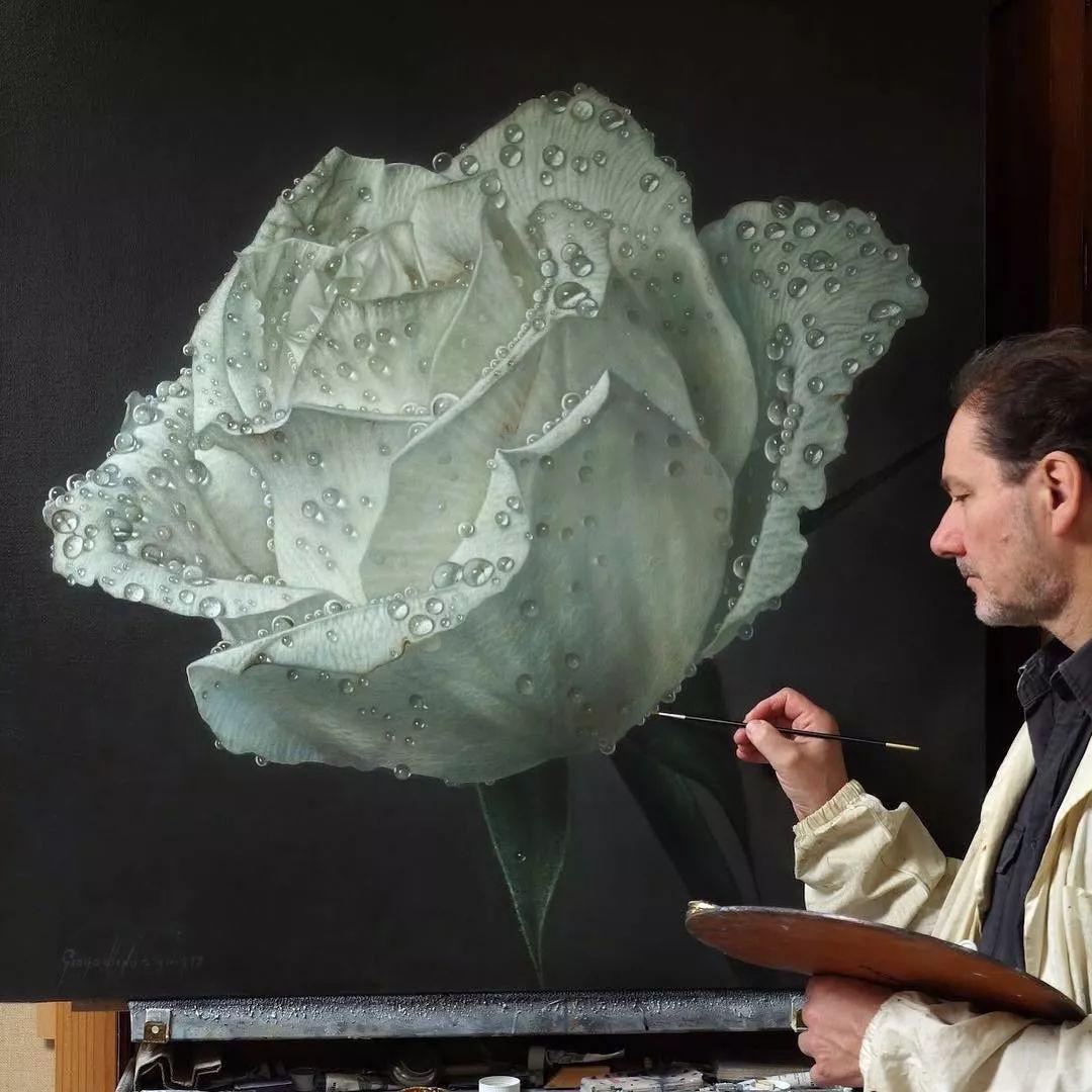 他用一块画布,就能将其变成一个露珠覆盖的玫瑰花园插图57