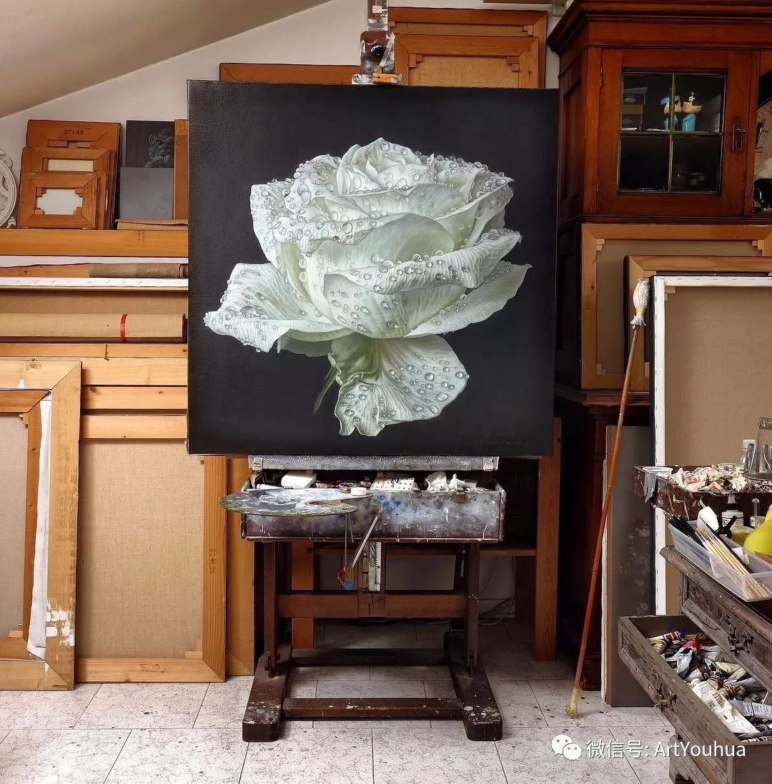 他用一块画布,就能将其变成一个露珠覆盖的玫瑰花园插图58