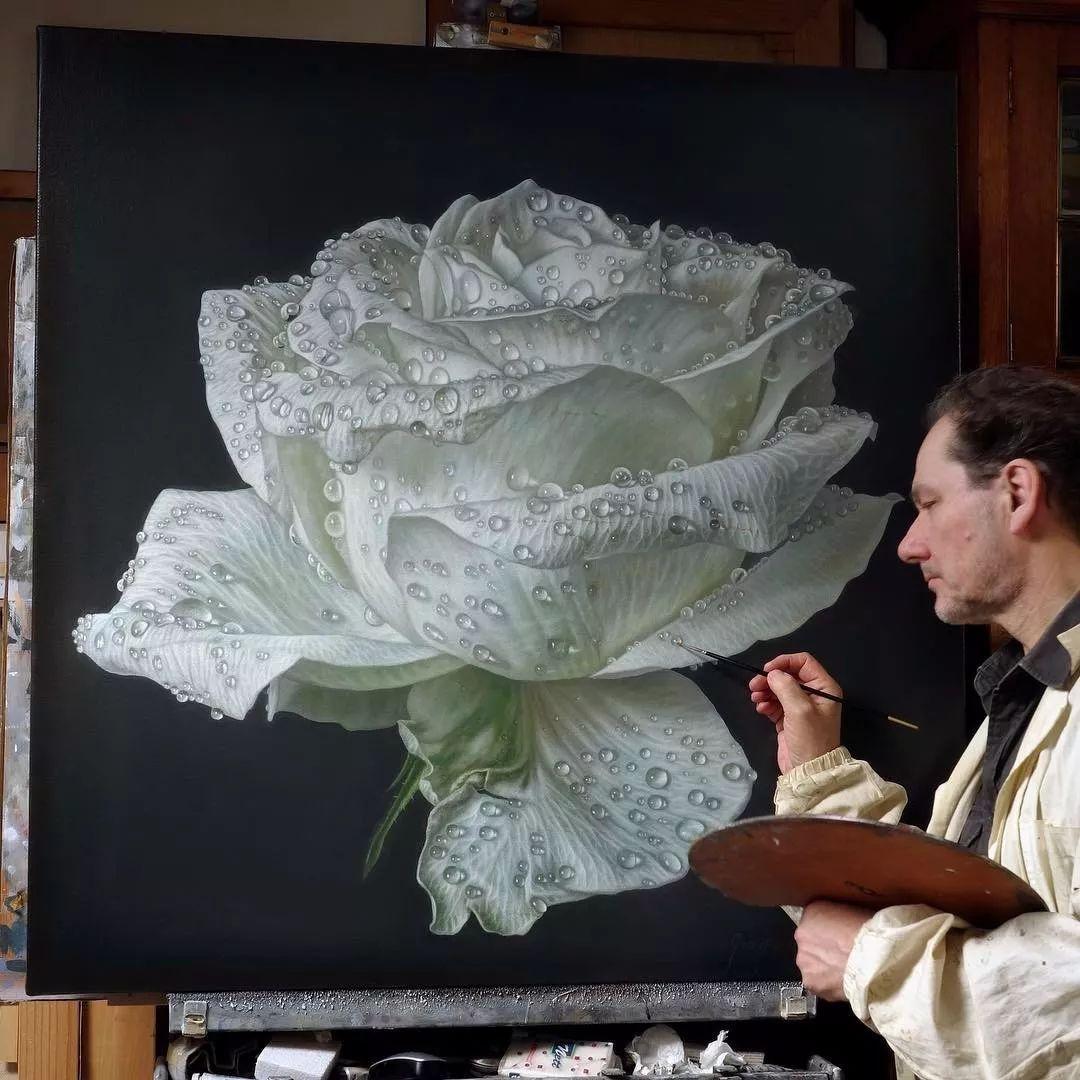 他用一块画布,就能将其变成一个露珠覆盖的玫瑰花园插图61