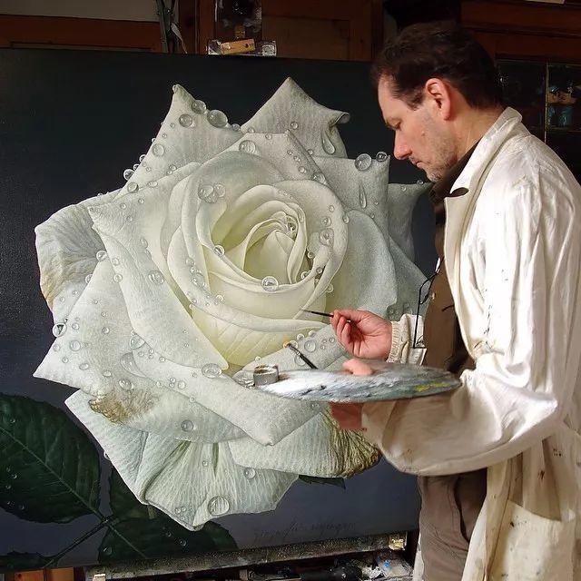他用一块画布,就能将其变成一个露珠覆盖的玫瑰花园插图64