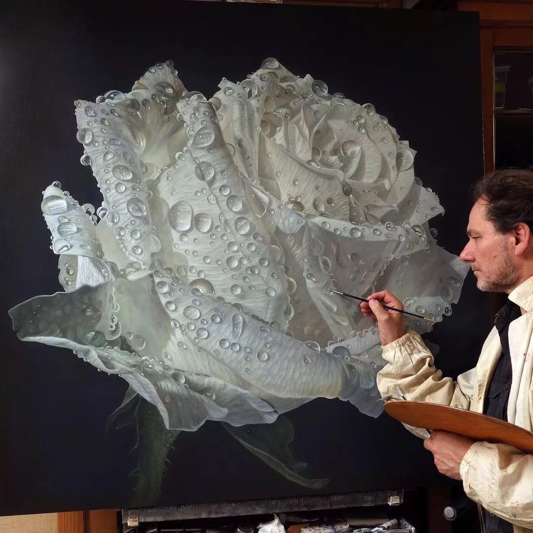 他用一块画布,就能将其变成一个露珠覆盖的玫瑰花园插图66
