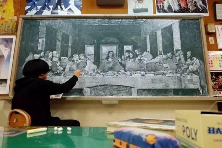 小学老师用粉笔画出油画质感,美到央视为其打call插图39