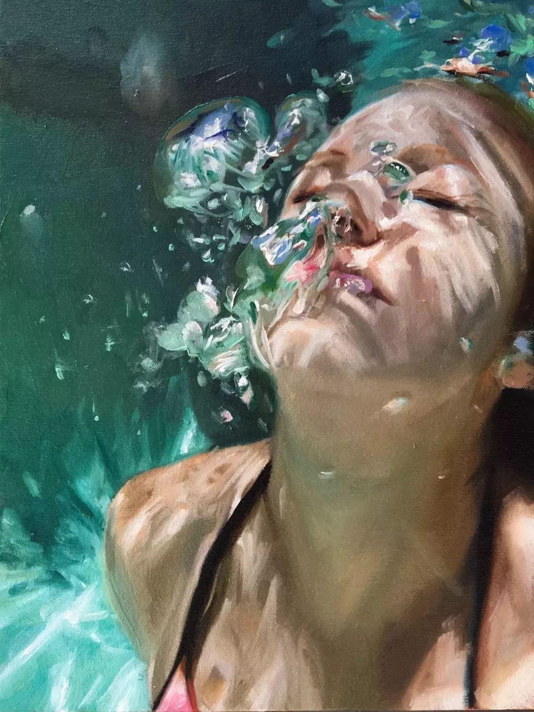 炎炎夏日90后美女画家,不拼颜值拼画功,绘出水下美女淋漓细节插图11