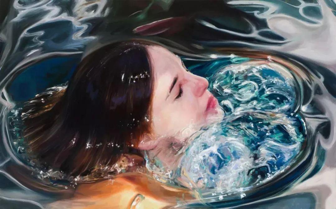 炎炎夏日90后美女画家,不拼颜值拼画功,绘出水下美女淋漓细节插图18