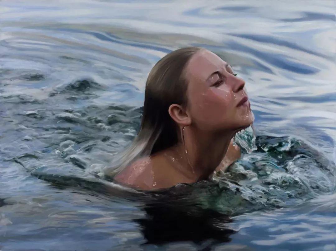 炎炎夏日90后美女画家,不拼颜值拼画功,绘出水下美女淋漓细节插图31