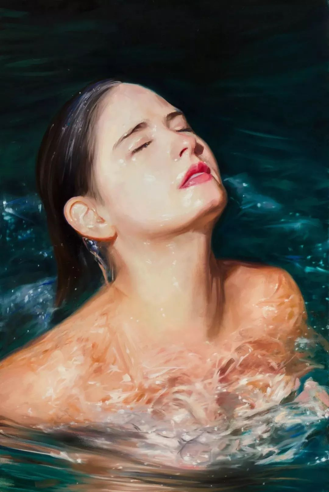 炎炎夏日90后美女画家,不拼颜值拼画功,绘出水下美女淋漓细节插图32