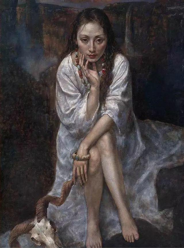他的作品细腻而感人,画中的女孩充满着古典气质插图3