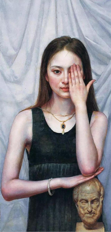 他的作品细腻而感人,画中的女孩充满着古典气质插图27