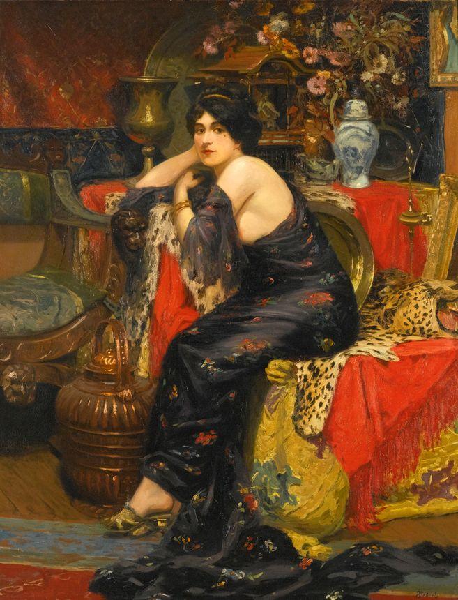 画中女子美丽优雅 个个身穿华丽有质感的服装插图7